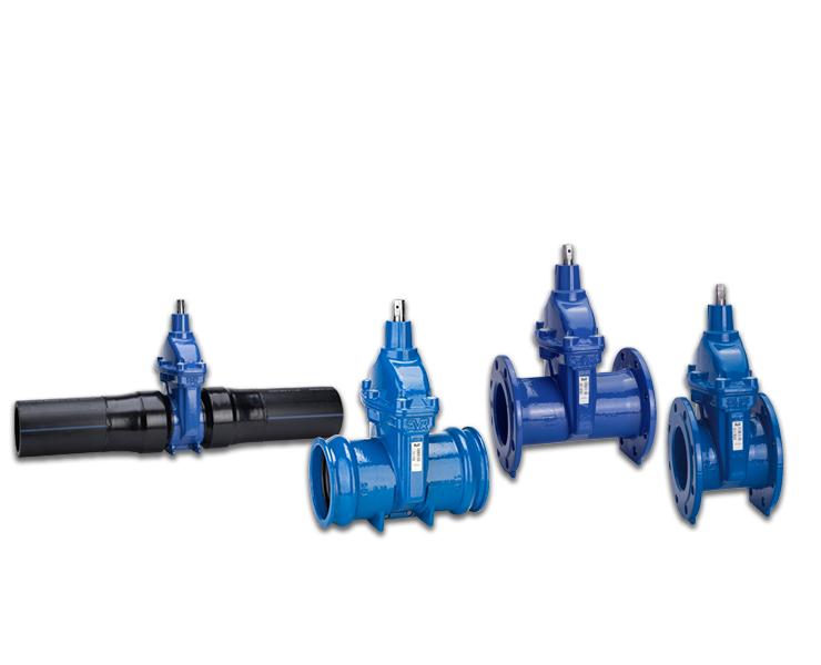 Schuifafsluiters met EPDM-rubber, gekeurd volgens Belgaqua met verschillende eindaansluitingen