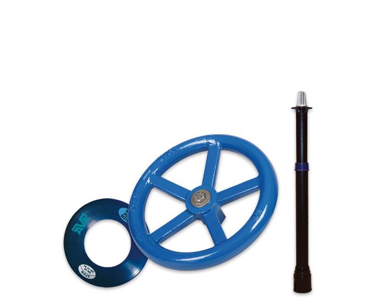 Toebehoren voor drinkwater, handwielen verlengspindels en flenspakkingen