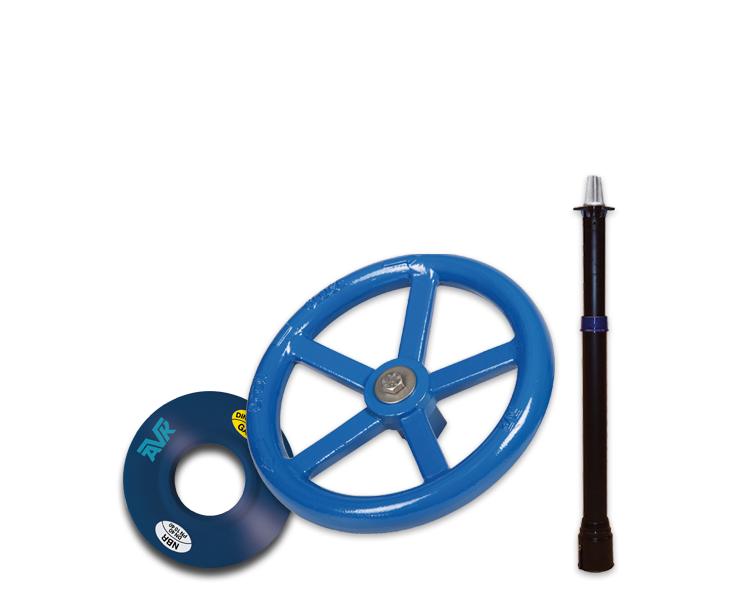 NBR-flenspakking 'KGS-S', handwielen, spindelverlengingen, T-sleutels en spindelkappen.